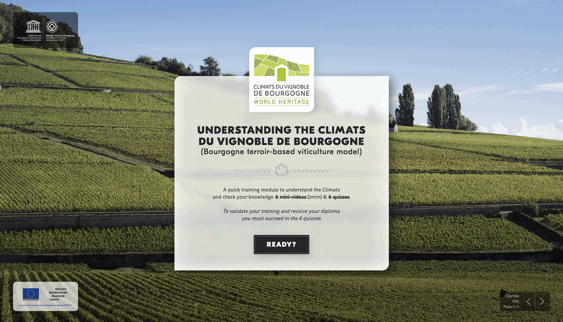 Plateforme interactive anglaise climats de bourgogne